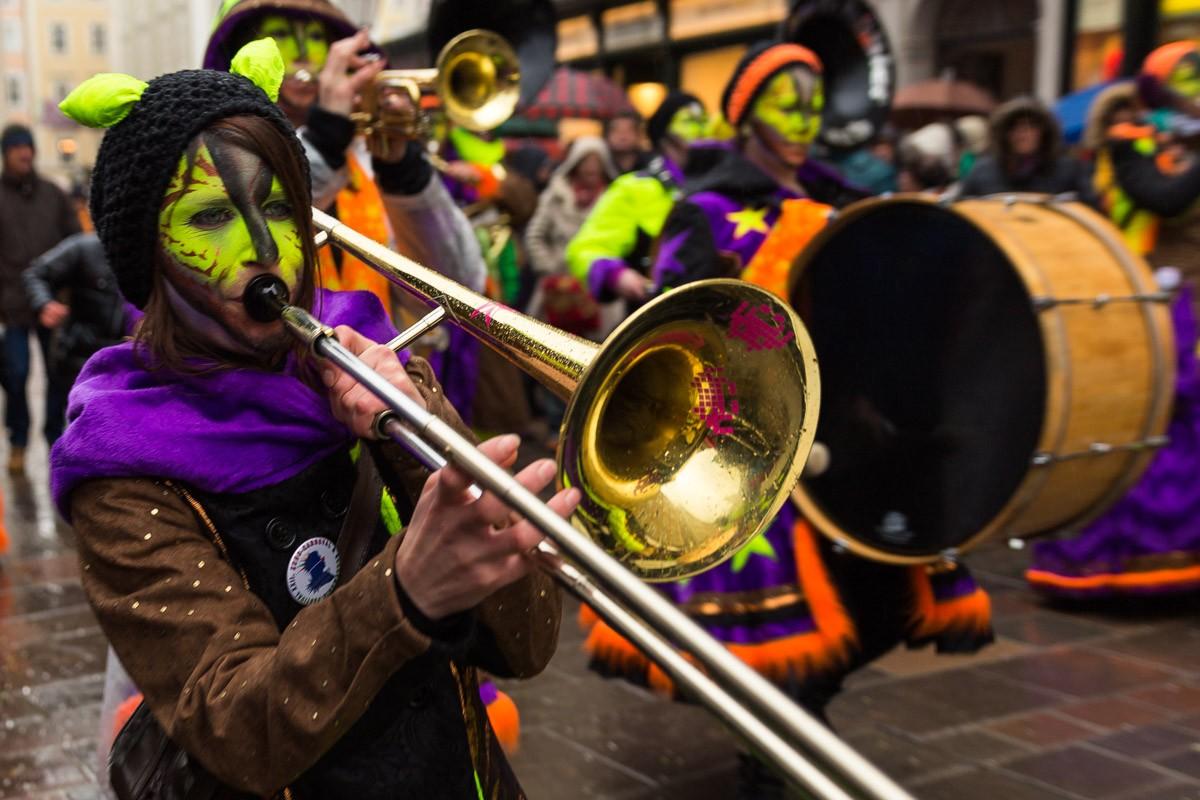 Posaunenspieler am 22. Euro-Carneval und Guggemusik-Festival 2015 in Salzburg